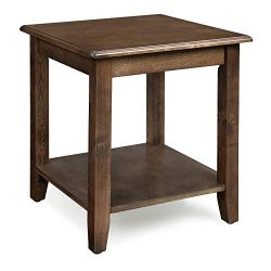 VASAGLE End Real Legs, Simple Rustic Side Table with Storage Shelf, Easy Assembly, for Living Ro ...
