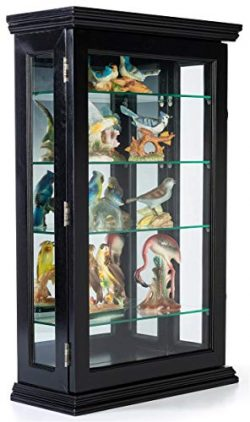 Displays2go Counter or Wall Mounting Wooden Curio Cabinet, Mirrored Back – Black (DCC2033BK)