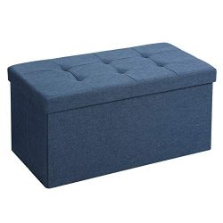 SONGMICS Storage Ottoman Bench, Chest with Lid, Foldable Seat, Bedroom, Hallway, Space-Saving, 8 ...