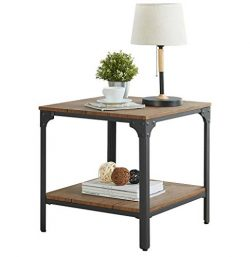 "Homissue 21.7""Height Industrial Square Sofa Side Table, Metal Frame Accent End Table with Storag ..."