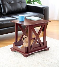 Wood Coffee Side Table with Fleece Like Pet Bed – Great for Med/Small Dogs and Cats
