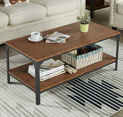 Homissue 43'' Rectangular Coffee Table, Vintage Industrial Cocktail Table with Lower Storage She ...