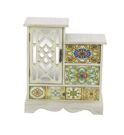 Deco 79 56699 Wooden Jewelry Chest 15″ x 13″ White/Multi-Color/Black