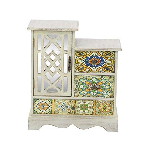 Deco 79 56699 Wooden Jewelry Chest 15″ x 13″ White/Multi-Color/Black