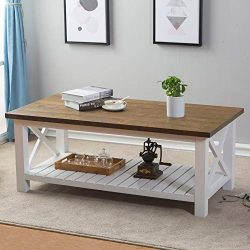 FurniChoi Farmhouse Coffee Table, Wood Rustic Vintage Cocktail Table for Living Room with Shelf, ...