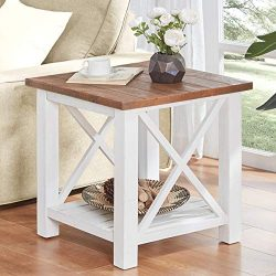 Furnichoi Farmhouse Wood End Table for Living Room, Vintage Rustic X Side Table, White and Brown