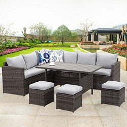 Wisteria Lane Patio Furniture Set,10 PCS Outdoor Conversation Set All Weather Wicker Sectional S ...