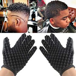 Gotian Sponge Gloves Fashion Curls Coil Magic Tool Wave Barber Hair Brush Sponge Gloves Black (B ...