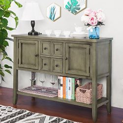 P PURLOVE Buffet Sideboard Console Table with Bottom Shelf Acacia Mangium (Antique Grey)