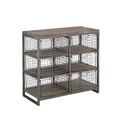 Home Styles 5053-41 Barnside Metro 6 Bin Wire Storage Chest 36″