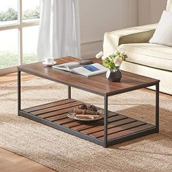 DYH Rustic Coffee Table for Living Room, Industrial Wood and Metal Cocktail Table with Slatted B ...