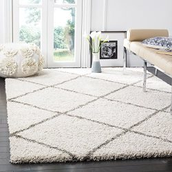 Safavieh Hudson Shag Collection SGH281A Ivory and Grey Moroccan Diamond Trellis Area Rug (5&#821 ...