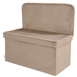 B FSOBEIIALEO Velvet Storage Ottoman with Seat Back, Folding Chair Footstool Bench, Storage Toy  ...