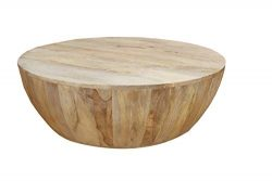 The Urban Port Tup UPT-32181 Modern Wooden Coffee Table in Round Shape, Light Brown
