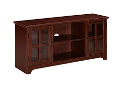 Ravenna Home Peterson Modern Glass Cabinet Storage TV Media Entertainment Stand, 46″W, Dar ...