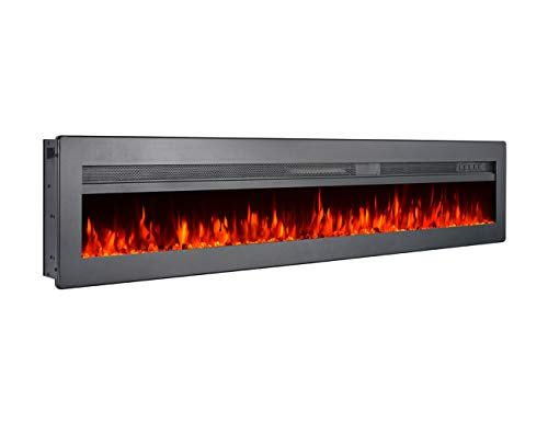 """GMHome 60"""" Wall Recessed Electric Fireplace 9 Changeable Color, w/Remote, 1500/750W, Metal ..."""