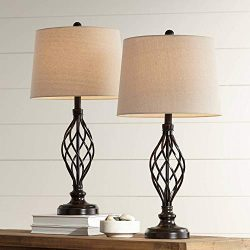 Annie Traditional Table Lamps Set of 2 Bronze Iron Scroll Tapered Cream Drum Shade for Living Ro ...