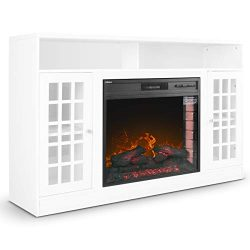 DELLA 59″ Wood Media TV Stand Console with Electric Fireplace Home Living Room, White