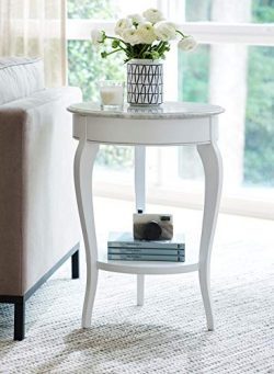 Young House Love 811C819 Quartz Top Accent End Table, White
