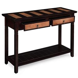 VASAGLE Sofa Table with 2 Drawers, Entryway Table with 1 Storage Shelf, Solid Wood Legs Console  ...