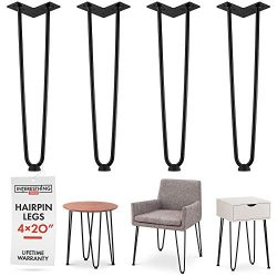 Heavy Duty Metal Coffee Table Legs with Screws and Hairpin Leg Protector Included – 4 Piec ...