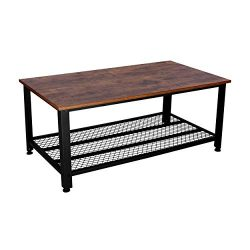 IRONCK Vintage Coffee Table for Living Room Cocktail Table with Storage Shelf Wood Look Accent F ...