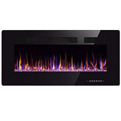 Xbeauty 36″ Electric Fireplace in-Wall Recessed and Wall Mounted 1500W Fireplace Heater an ...