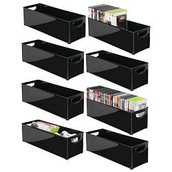 mDesign Plastic Stackable Household Storage Organizer Container Bin with Handles – for Med ...