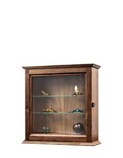Decorative Curio Wall Cabinet-Walnut Hardwood *Made in the USA*