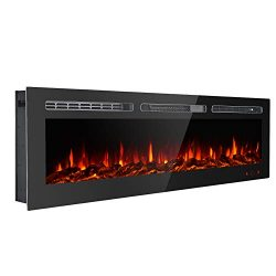 GMHome Wall Recessed Electric Fireplace Wall Mounted in-Wall Built Heater Log Set & Crystal, ...
