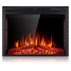 SUNLEI 36'' Electric Fireplace Insert, Freestanding& Recessed Built in Fireplace Electric He ...