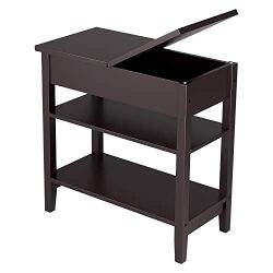 HOMFA Flip Top Open End Table with 2-Tier Storage Shelf Wooden Side Table Narrow Bedside Corner  ...