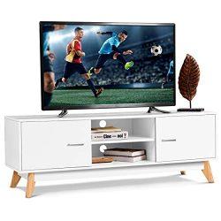 Tangkula TV Stand, Modern Wood Multipurpose Organizer, Storage Entertainment Media Console Cente ...