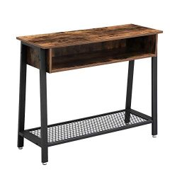 VASAGLE Vintage Sofa Table, Console Table with Mesh Shelf and Storage Rack, Entryway Table for L ...