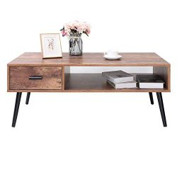IWELL Mid-Century Coffee Table with 1 Drawer and Storage Shelf for Living Room, Cocktail Table,  ...