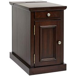 Ball & Cast Harriet Wood End Table with Drawer, Cabinet, and Built-in Power Strip, Roasted Brown
