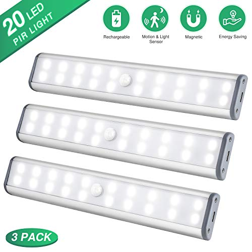 Under Cabinet Lighting, Closet Light 20 LEDs 3 Packs, Wireless Rechargeable Cabinet Lights, Magn ...