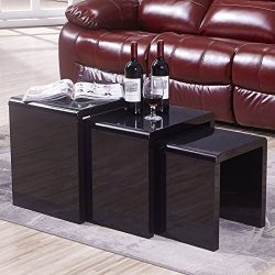 Mecor Nesting Coffee Table Set, 3 Piece Coffee Side End Table W/High Gloss Black for Living Room ...