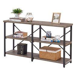 BON AUGURE Rustic Console Sofa Table, Industrial Hallway/Entryway Table, 3 Shelf Open Bookshelf( ...