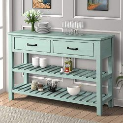 P PURLOVE Console Table Sofa Table with Drawers and 2 Tiers Wood Shelf (Tiffany Blue)