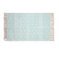 Aimdoo Cotton Printed Rug, Decorative Aqua Diamond Hand Woven Rag Rug Entryway Thin Throw Mat fo ...
