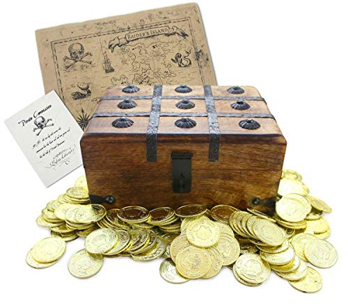 """Well Pack Box Wooden Pirate Treasure Chest 9"""" x 7"""" x 5"""" with 144 Plastic Gold Coins Authentic Pa ..."""