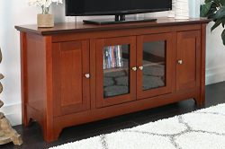 Walker Edison 53″ Wood TV Stand Console with Storage, Brown