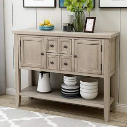 P PURLOVE Console Table Buffet Sideboard Sofa Table with Four Storage Drawers Two Cabinets and B ...