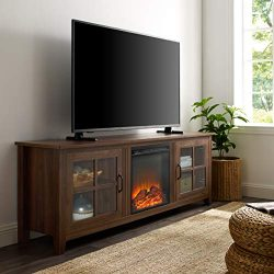 WE Furniture Fireplace TV Stand, 70″, Dark Walnut