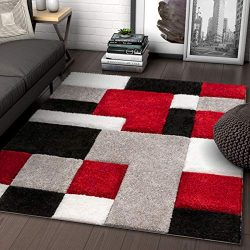 Well Woven Ella Red Geometric Boxes Thick Soft Plush 3D Textured Shag Area Rug 5×7 (5' ...