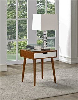 Walnut Color Hardwood End Side Table Nightstand with Drawer by Legacy Decor