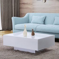Mecor High Gloss White Rectangle Coffee Table, Modern Side/End/Sofa Table, 1 Layer Living Room H ...
