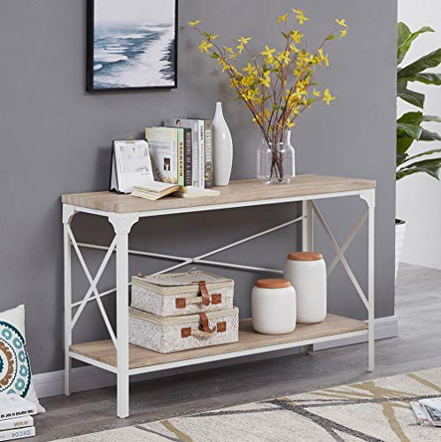 Homissue Modern Style White Sofa Table with Storage Shelf, 2 Tier Industrial Occasional Console  ...