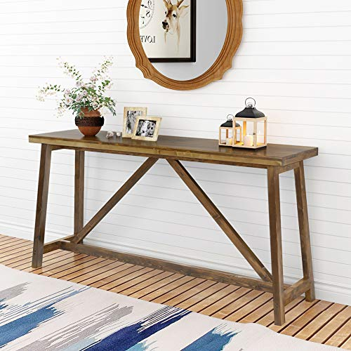Tribesigns 59″ Extra Long Rustic Console Table, Solid Wood Entry Table, Sofa Table for Liv ...